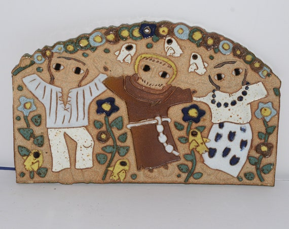 Vintage Large Monks of Valyermo St. Andrews Pottery Plaque Marriage Wedding  California Monastery Pottery Hand Made Retired Wedding