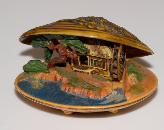 Carved Japanese Water Wheel Scene Diorama clam shell Scene Vintage Souvenir Dragon lid Celluloid Caved Celluloid Large Asian Scene