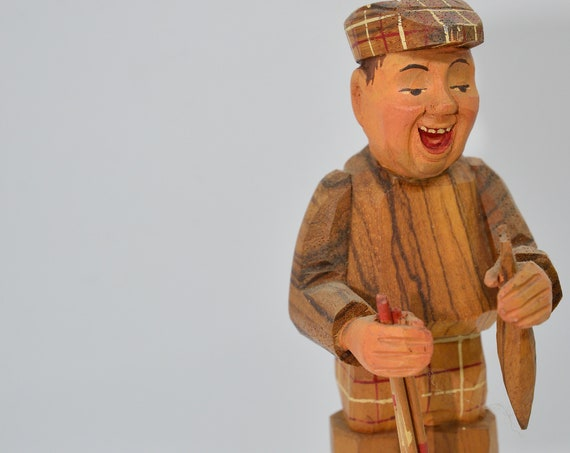 Vintage Anri Carved wood Fly Fisherman 1960s  Fishing Character Whimsical carving Italian Carving