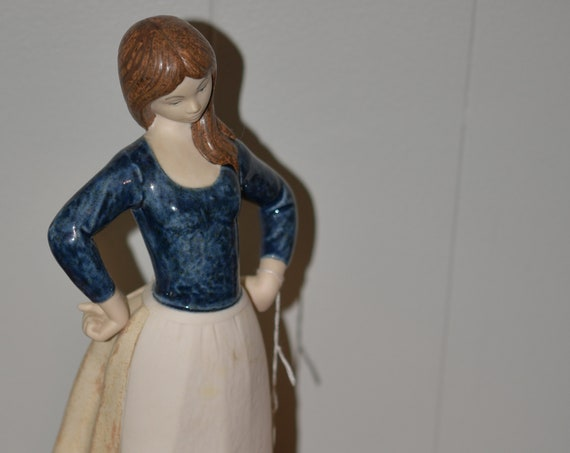 Large Rex Valencia Spain Spanish Figurine Girl With Geese Spain Fine Porcelain Similar to Lladro