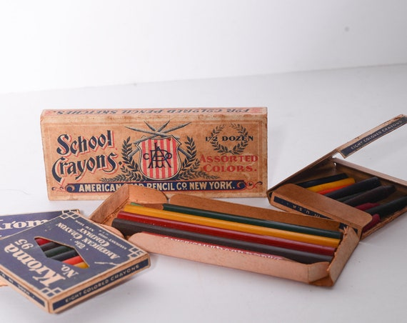 Lot of 4 Antique 1930s Crayons and Pencils Kroma American Lead Pencils With Boxes Ohio