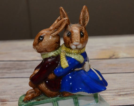 Billie and Buntie Bunnykins Sleigh Ride DB4 Royal Doulton 1972 Sled riding bunnies winter fun Figurine