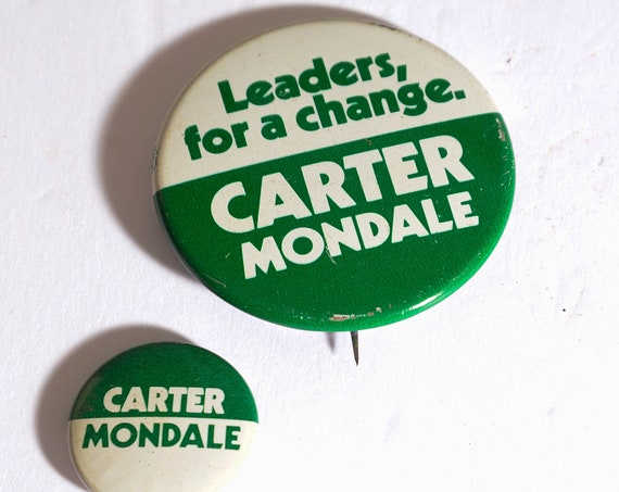 1980 Carter Mondale Election Pinbacks buttons, Pair of buttons presidential campaign, political collectibles