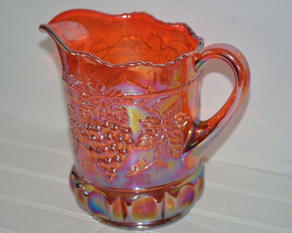 """Large Northwood Carnival Glass Grape Pattern Carnival Glass Orange to Red 8 """" inches heavy 5 lbs"""