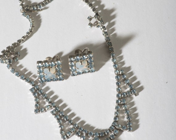 Elegant Opal and Blue Rhinestone Vintage Demi Parure Necklace and Earrings Set 1950s Wedding Prom Formal Free shipping
