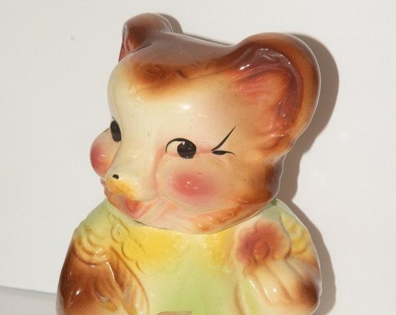 American Bisque  Teddy Bear Cookie Jar Ceramic Cookie Jar 1950s Pottery