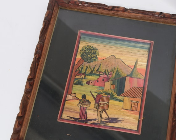 Mexican Straw Art Vintage Framed Village Scene Original Mexico Folk Art Moutains with Village People