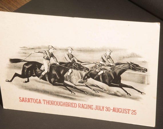 Antique Original Saratoga Springs Thoroughbred Racing Desk or Counter Display with Easel Poster Advertisement Advertising Horse Racing