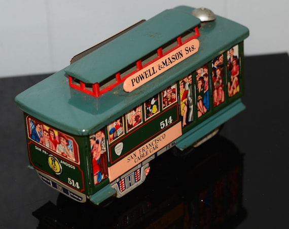 Made in Japan Tin Friction Toy San Francisco Trolley Car Powell Mason Street Cable Car Vintage Tin Toy 1960s