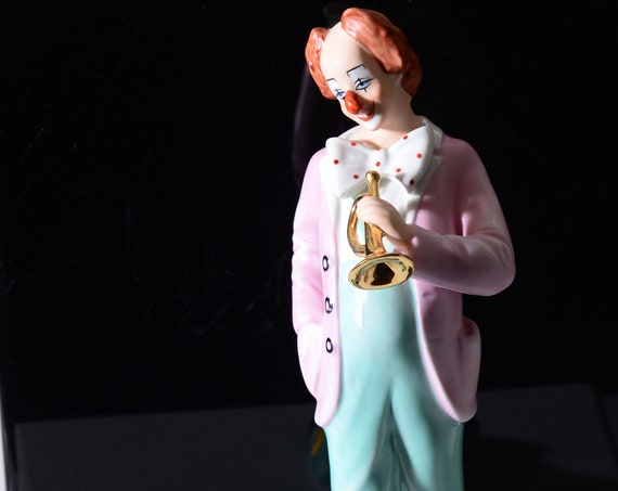 Vintage Royal Dux Bohemian Czech Republic Porcelain Clown Figurine  9 inches High Gloss with originial sticker.