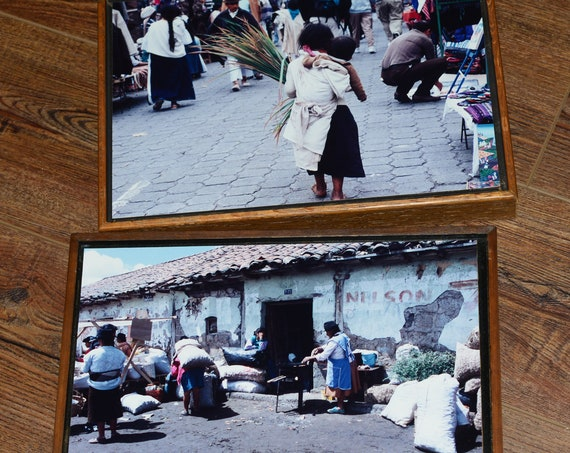 Framed and Mounted Vintage Travel South American Bolivia Photographs Street Scenes