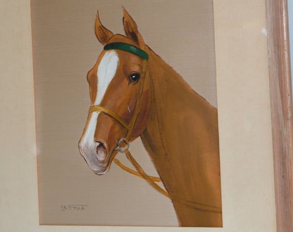 Signed Henry or Harriet  LaForet Oil painting on Silk Horse Framed and Matted Circa 1950-70s 18x20