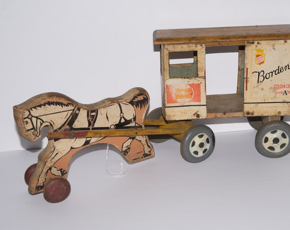 1950 Rich Toys Wooden Borden Gold Crest Milk Horse and Cart Toy Pull toy Milk wagon Advertising Dairy Farming