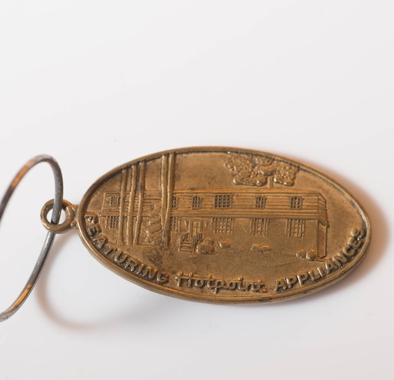 Vintage Advertising Key Chain Hotpoint Appliances LB Gordon Realtor Architecture, 1950s 60s Free ship