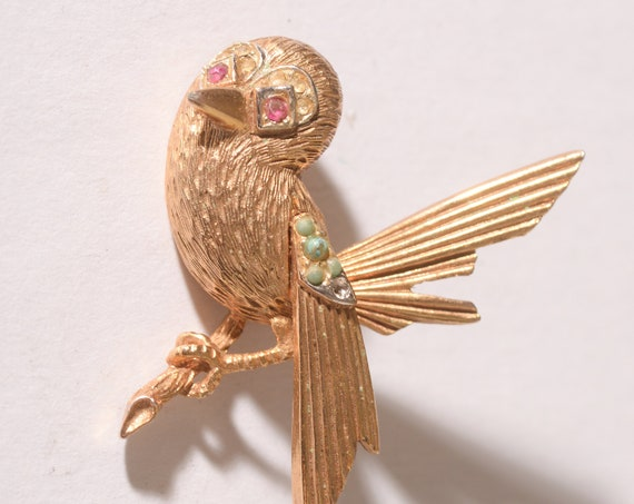 Vintage Coro Brooch Sparrow on Branch gold tone Vintage Pins Animals and Bird Theme free shipping USA