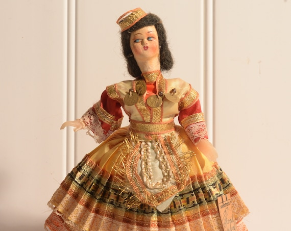 Collectible Cloth and Wire Folk Art Doll Greece Traditional Ethnic Dress Costume Greek Islands