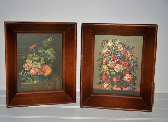 Pair of Small Framed Floral Prints Circa 1950-70 Three Moutaineers Asheville, NC Treasure Chest Perfect small Art