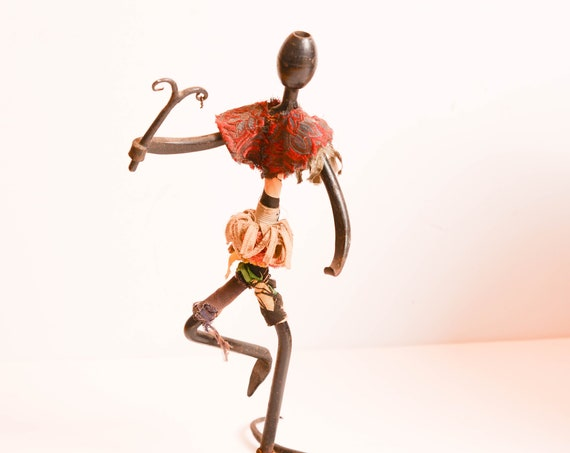 Haitian African Scrap Metal Art Dancing Figurine Folk Art Sculptures Vintage found Art