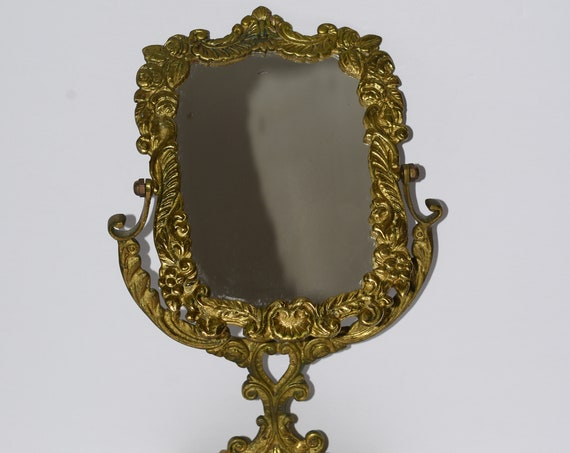 Antique Solid Brass Mirror Ornate French Style Vintage Rococo Gold 16 inches high Victorian Vanity Mirror Dressing Table Glamour Art Noveau
