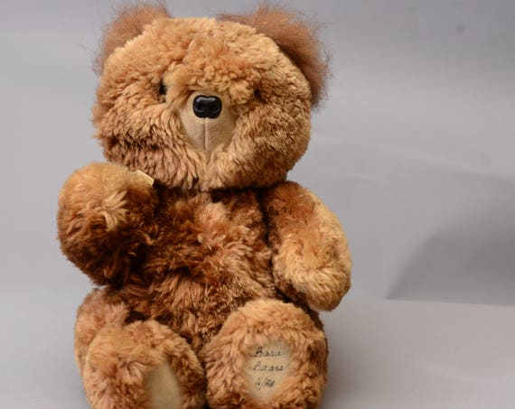 Basu Enterprises Teddy Bear Jointed Signed 1988 Made from recycled fur Coat Handcrafted Vintage Free Shipping