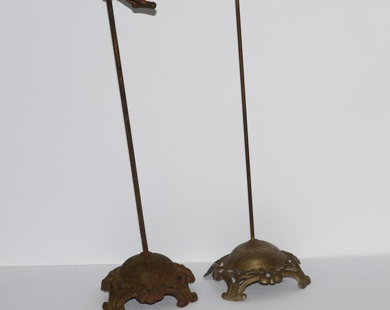 Pair of 2 Cast Metal Victorian Millinery Hat Stands Displays Ornate Bases 18 inches Tall Perfect for Shop or store display of antique hats