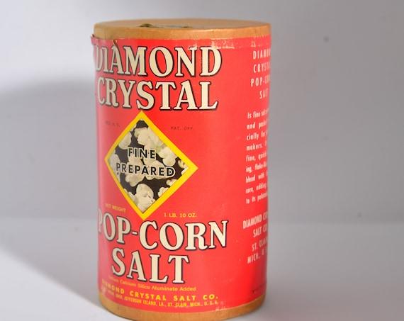 Bright Graphics NOS Diamond Salt Popcorn Salt Container General Store Decor, Kitchen Decor Advertising