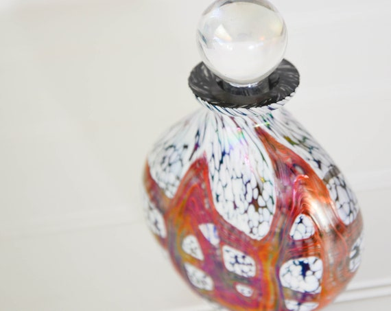 Vintage Art Glass Hand Blown colorful perfume Bottle with Ground Glass Stopper, Orange, black, white pearlescent