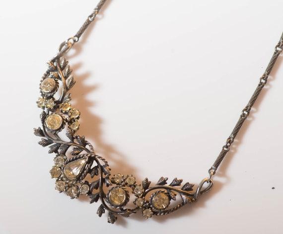 Elegant Vintage Bib Rhinestone and Floral Necklace Statement Formal Wedding Dress Beautiful  Free First Class Ship