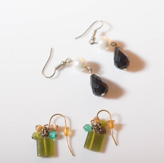 2 Pair of Classic earrings , Chartreuse and Black classic for holiday parties and dress up.