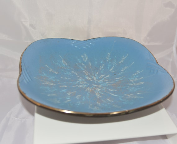 Vintage  Carstens tonnieshoff West German Pottery  Bowl or Platter Redware base, Blue and Cream colors West Germany Pottery