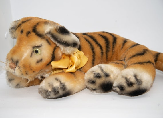1940-50 Mohair Tiger Character Novelty Company Connecticut Stuffed Bengal Tiger