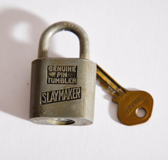 Vintage white steel Slaymaker Padlock with Working key Illinois Central  Rail Road RR  ICRR