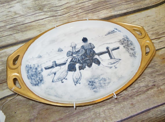 RS Germany Circa 1940s hand painted delft Holland Scene Blue and White Gold gilt Platter Wall Hanger
