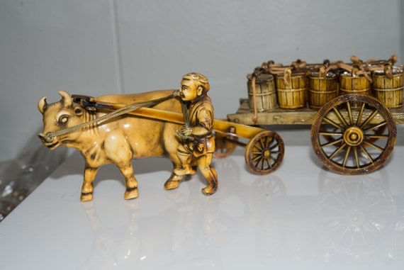 Japan Carved Celluloid Asian Oxen and Wagon Large 5 inches Circa 1940