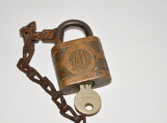 Vintage Yale Padlock with Chain and Key Solid Brass Hardened