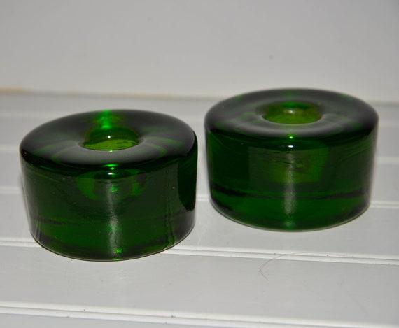 Blenko W. Virginia Glass Vintage Chunky Emerald Green Candlesticks