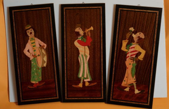 Set of 3 Sorrento Marquetry Inlaid Clowns colorful 1960s 70s Wall Art From Italy  Amazing Detail and Colors Fun for the bar  or play room