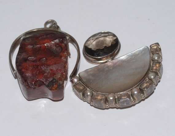 2 Huge Jewelry Pendants MD 925 Sterling Abstract Chunky Amber Resin and Abalone and quartz Findings Chunky