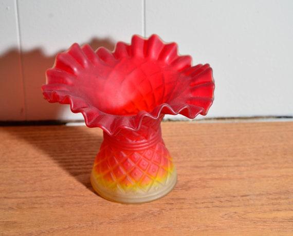 Vintge Diamond Point Amberine Satin Finish Ruffled Edge Vase Pilgrim or US glass