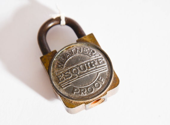 Eqsuire Vintage Padlock Weather Proof two tone brass and white metal vintage lock