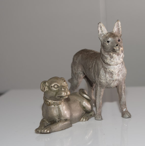 Pair of Art Deco Ero Metal Cast Dogs Bulldog and German Shepard Ornaments Tropies, or figurings Spelter
