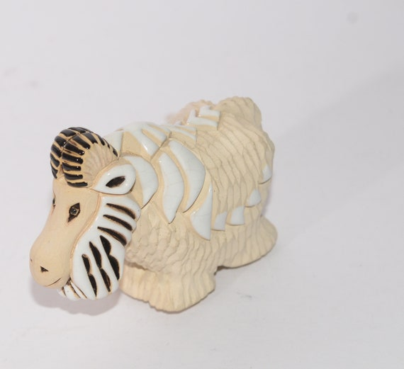 Artesania Rinconada  Big Horn Sheep Animal Figurine Uruguay Clay Animals