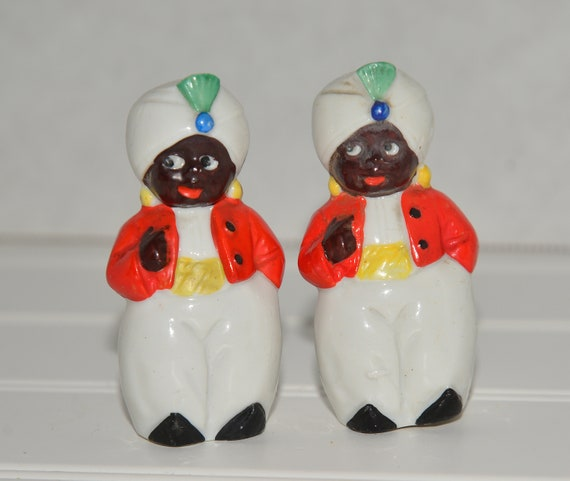Made in Germany Vintage salt and pepper Swami  Turban Indian Salt and Pepper Shakers Bright Art Deco Colors