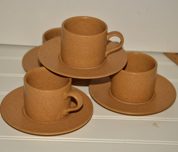 Vintage Mikasa 1980s Potters Craft Espresso Coffee Cups Earthy Grain Color Natural Earthy Set of 4