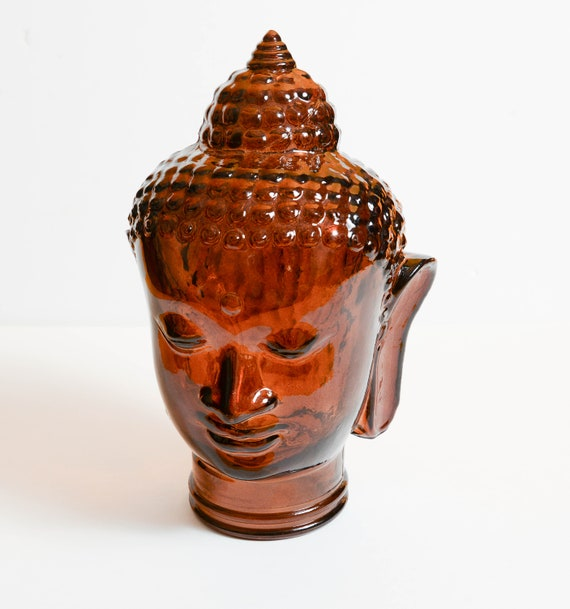 Amber Brown Glass Buddha Mannequin head San Miguel Recycled glass Vintage Glass Siddhartha Hindu Buddhist Zen Figure Beautiful Asian Piece