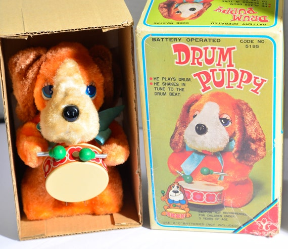 Vintage Battery Operated Yonezawa Toy Japan Drum Puppy Works with Box Drum Playing dog Vintage Toys