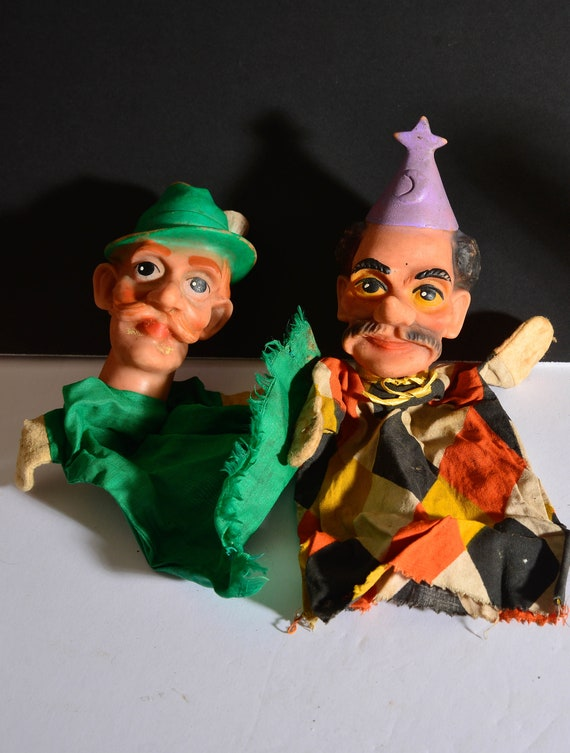Lot of 2 Vintage Rubber head hand Puppets  Peter Pan and Jester