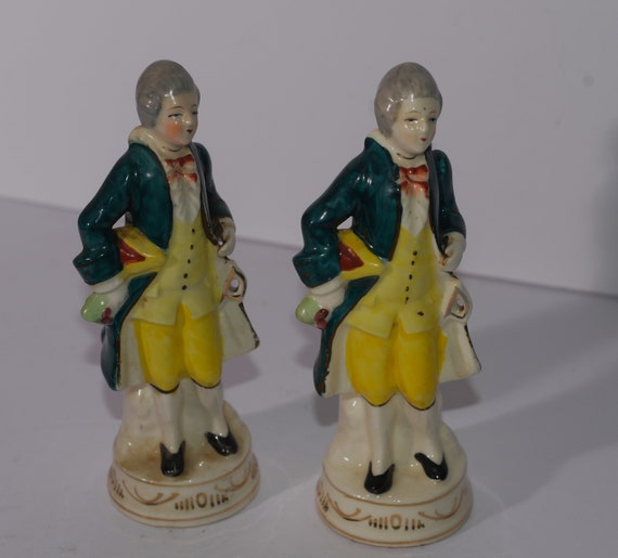 Occupied Japan Matched Pair Colonial Figurine Green and Yellow Moriyama Mark Bisque Figurines