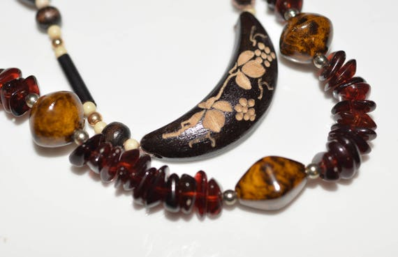 Two Earthy Natural Necklace rich Earthtone Glass Bead, and Carved wood Naturalistic Nature themed