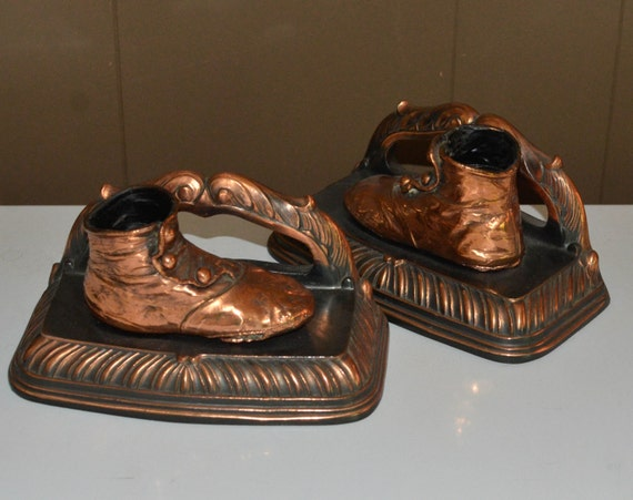 Art Deco Baby Shoe Bookends Bronze Victorian button up infant shoes